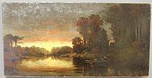 Cranch, Christoper Pearse [American, 1813-1892] unframed oil on canvas landscape painting of a river sunset with three figures in a small boat, signed l.l.