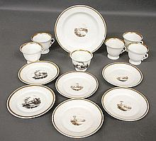 Group of Tucker, Philadelphia porcelain, c.1830- deep dish 8.75