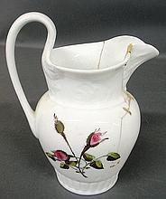 Tucker, Philadelphia porcelain pitcher, c.1830, with rose decoration. As found. 9.5