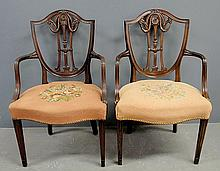 Pair of Adams style carved mahogany open armchairs with floral needlepoint seats. 37.5