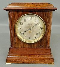 Adamantine celluloid veneer cased Seth Thomas mantel clock. 14.5