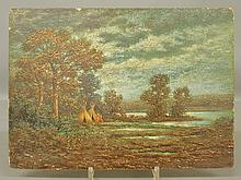 Oil on wood panel painting of a tree-lined moonlit river scene with Indian tepees on the shore, c.1885, in a similar style to R.A. Blakelock, initialed indistinctly l.l. and unframed. 10