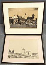 Two framed and matted lighthouse prints by Joseph P. Sims, 1947 $ 1950. Site- each 9