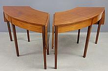 Pair of New York half-round demilune tables, c.1790, each with drop leaves and with old label