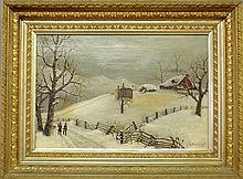 Oil on canvas painting of a winter country landscape with hunters walking along the road, signed l.r.