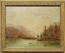 Oil on artist board landscape painting of a fall lake scene with snowcapped mountains in the background, mounted in a gilt frame. Site- 8.5
