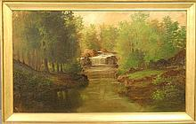 Stuart, Alexander Charles [American, 1831-1898] large oil on canvas landscape painting of a waterfall in the woods, probably White Clay Creek, Delaware, signed l.l.