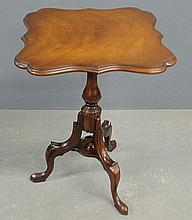 Queen Anne style mahogany tilt-top table labeled