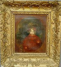 Oil on canvas portrait of a young girl wearing a red dress and large hat, 19th c., and mounted in an ornate gilt frame. Site- 11.5