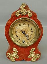 French style red painted metal mantel clock with ormolu mounts. 9.25
