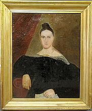Large oil on canvas portrait of a seated woman, 19th c., mounted in a gilt frame. As found. Site- 33.5