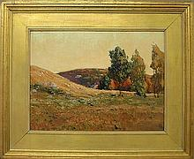 Oil on board painting of a late summer landscape, signed l.r.