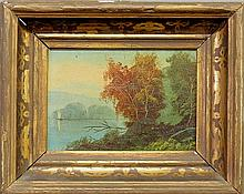 Small oil on canvas laid down on panel painting of a fall lake scene with sailboat, late 19th c. Site- 4