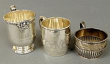 Collection of three sterling silver baby cups, largest by Howard & Co. 3