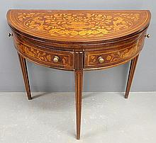 Fine marquetry inlaid demilune gaming table, c.1780, with two drawers and molded tapered legs. 28