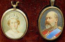 Leather cased pair of miniature oval portraits, possibly Queen Victoria and Prince Albert. Site- 1.75