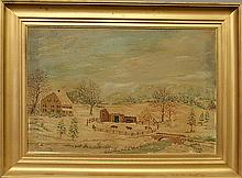 Oil on canvas painting of a winter farm landscape, signed l.r.