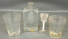 Stiegel type glass spirits bottle with etched floral decoration 9