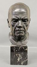 Parks, Charles Copper [American/Delaware, 1922-2012] bronze head mounted on a square marble base and signed