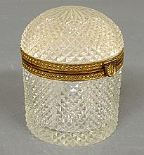 Unusual round French crystal dome-lid box, c.1920, with bronze gilt banding. 5.5