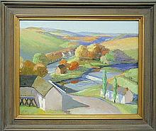 Berndt, Bayard Taylor [American/Delaware, 1908-1987] oil on canvas autumn landscape painting, signed lower center