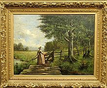 Meyer, Emil (Emile) [American, b. 1863] large oil on canvas summer landscape painting with a woman crossing a footbridge, signed l.r.
