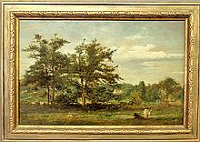Continental oil on panel landscape painting with cows, unsigned, and mounted in a gilt frame. Site- 11.5