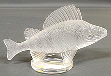 Signed Lalique, France glass fish. 4