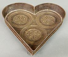 Pennsylvania German tin heart-shaped cheese strainer, 19th c. 2.125