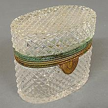 Oval French crystal box, c.1920, with gilt metal banding and lock. 5