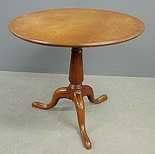 English Queen Anne mahogany tea table with a circular dish top and birdcage support. As found. 28