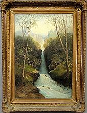 Andrews, George Henry [American. 1816-1898] large oil on canvas landscape painting with a waterfall, signed l.l.