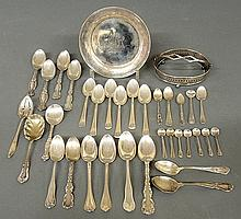 Group of sterling silver flatware by various makers, small plate, etc. 18 troy oz.