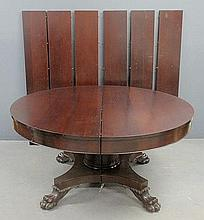 Large Empire mahogany banquet table with six extra leaves. 29