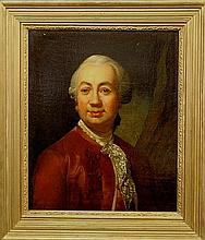 English oil on canvas portrait of a gentleman wearing a red jacket, probably 18th c., unsigned. 23.75