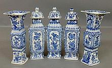 Delft blue and white porcelain five-piece garniture set, 19th c., with leaf and floral decorated panels, each approx. 13