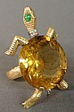 Ladies 14k gold and citrine turtle-form ring with chip diamond collar and tail, 2.25