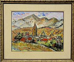Keenan, Frank [American, 1893-1984] oil on board painting of Mexico City, signed l.l.