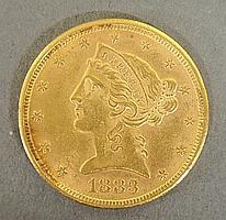 1883 Liberty five-dollar gold coin.