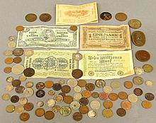 Misc. group of foreign coins and currency including a Roman coin and 3 possibly 4 Chinese coins.