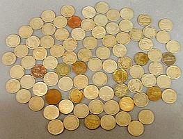Group of U.S. nickel coins- some 1900's, Liberty, Buffalo and Jefferson, etc., approx. 85, and an 1865 two-cent coin.