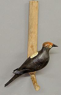 Large carved and paint decorated woodpecker, c.1930, mounted on a pine board. 19