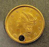 1854 one-dollar gold coin, pierced.