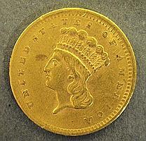 1856 one-dollar gold coin.