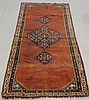 Farrakhan Sarouk oriental hall runner with three geometric medallions and red field. 7'x3'4