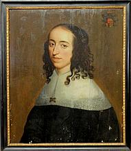 Oil on panel portrait of an Austrian noblewoman with an armorial crest upper right, sitter wearing lace collar, jeweled brooch and jeweled hair decoration, note verso translated identifies the sitter as Egidia van Teylinger, b.1620-d.1693, married