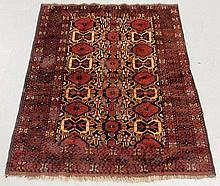 Oriental Bidjar pattern oriental center hall carpet with red field and geometric patterns. 5'4