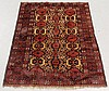 Oriental Bidjar pattern oriental center hall carpet with red field and geometric patterns. 5'4
