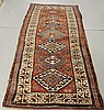 Colorful Kazak oriental hall runner with seven center medallions and tomato red field. 8'7