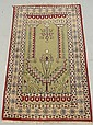 Persian oriental prayer rug with light green field. 4'4